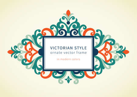 Vector baroque frame in Victorian style. Ornate element for design in modern colors. Colorful ornamental pattern for wedding invitations and greeting cards. Traditional floral decor. Vector