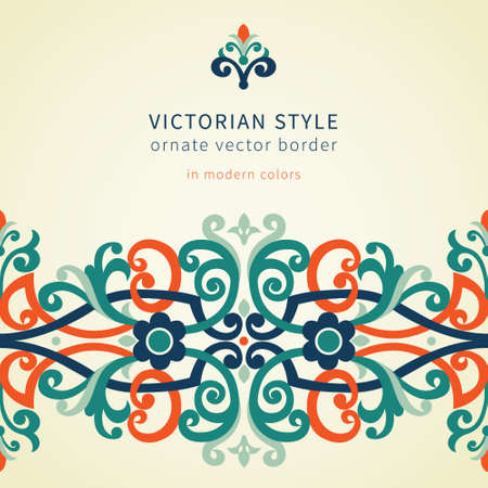 Vector baroque seamless border in Victorian style. Ornate element for design in modern colors. Colorful ornamental pattern for wedding invitations and greeting cards. Traditional floral decor. Vector