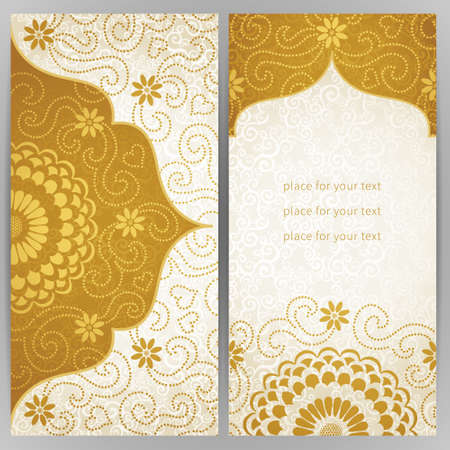 place card: Vintage ornate cards with flowers and curls. Golden Victorian floral decor. Template frame for greeting card and wedding invitation. Ornate vector border in east style. Place for your text.