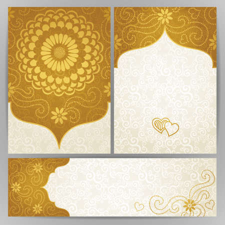 arabic motif: Vintage ornate cards with flowers and curls. Golden Victorian floral decor. Template frame for greeting card and wedding invitation. Ornate vector border in east style. Place for your text.