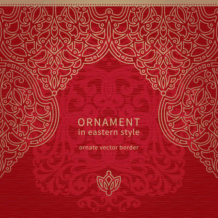 eastern religion: Vector seamless border in Eastern style. Ornate element for design and place for text. Ornamental lace pattern for wedding invitations and greeting cards. Traditional decor on red background.