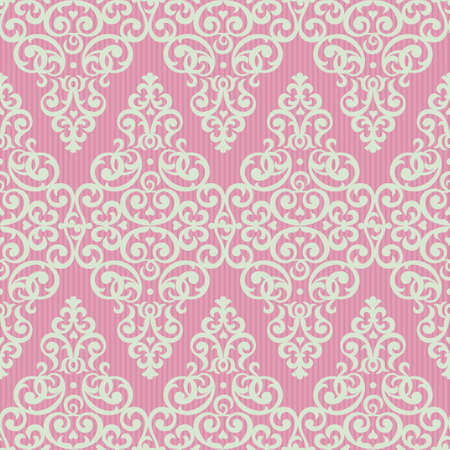 Vector seamless pattern in Victorian style. Element for design. Ornamental backdrop. Light lace background. Ornate floral decor for wallpaper. Endless texture. Bright pink pattern fill. Vector