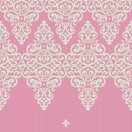lace vector: Vector seamless border in Victorian style. Element for design and ornamental backdrop. Light lace background. Ornate floral decor for frieze. Endless texture. Bright pink pattern fill.