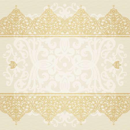 Vektor nahtlose Grenze in Ost-Stil. Verziert Element für Design und Platz für Text. Zierlochmuster für Hochzeitseinladungen und Grußkarten. Traditionelle goldenem Dekor auf hellem Hintergrund. Standard-Bild - 30404934
