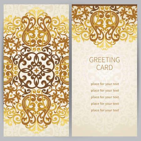 Vintage ornate cards in east style. Golden Victorian floral decor. Template frame for greeting card and wedding invitation. Ornate vector border and place for your text. Vector