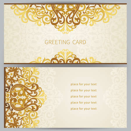 Vintage ornate cards in east style. Golden Victorian floral decor. Template frame for greeting card and wedding invitation. Ornate vector border and place for your text.