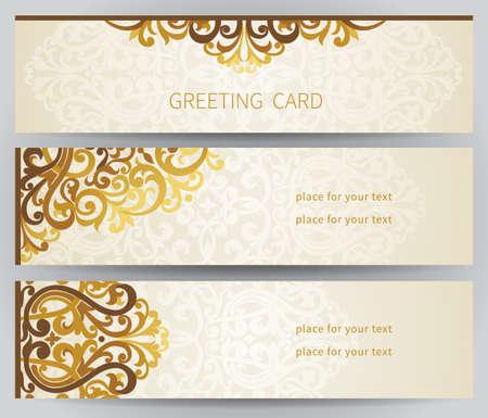 verschnörkelt: Vintage verzierten Karten in Ost-Stil. Viktorianische Blumen-Dekor. Template-Rahmen für die Grußkarte und Hochzeitseinladung. Verziert Vektor-Grenze und Platz für Ihren Text.