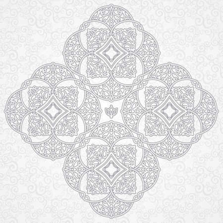 arabic motif: Vector ornament in Eastern style. Ornate element for design in Moroccan style. Ornamental lace pattern for wedding invitations and greeting cards. Traditional grey decor on light background. Illustration