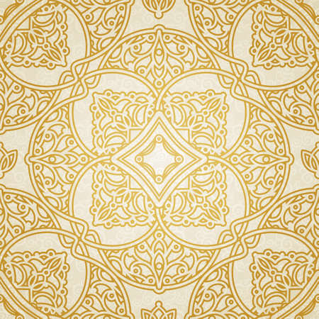 victorian wallpaper: Vector seamless pattern in Victorian style. Golden element for design. Ornamental backdrop and light lace background. Ornate floral decor for wallpaper. Endless texture. Monochrome pattern fill.