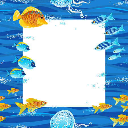 Bright vector pattern with tropical fishes. Design template. Marine life. Can be used for wallpaper, web page background, decorating of invitations, cards, decoration for bags and clothes. Vector