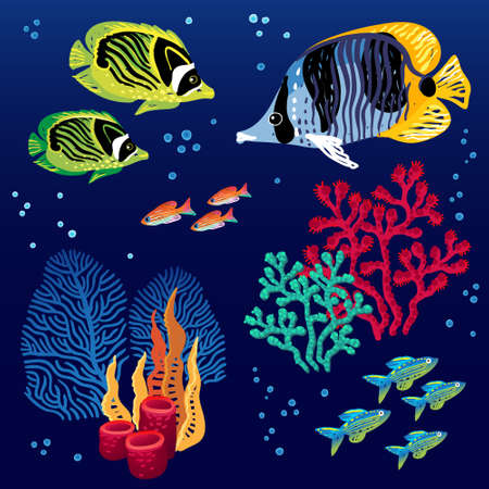Colorful vector set of tropical fishes and corals. Marine life. It can be used for scrapbooking, decorating of invitations, cards and decoration for bags and clothes, web pages design. Vector