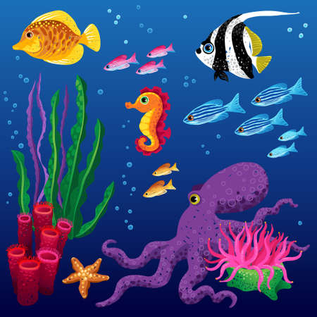 deepness: Vector set of sea animals and seaweeds. Marine life. It can be used for scrapbooking, decorating of invitations, cards and decoration for bags and clothes, web pages design. Illustration