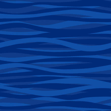 Blue seamless pattern with waves. Marine waves background. It can be used for wallpaper, pattern fills, web page background, surface textures.