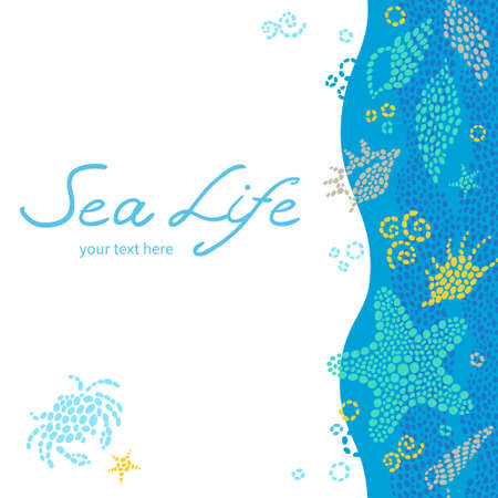 place for text: Bright invitation cards with sea elements. Marine life vector background. Sea pattern with fish and waves. Place for your text. Template frame design for card.