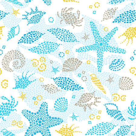 sealife: Bright seamless pattern with sea elements. Marine life background. It can be used for wallpaper, pattern fills, web page background, surface textures.