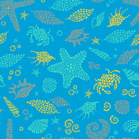 Bright seamless pattern with sea elements. Marine life background. It can be used for wallpaper, pattern fills, web page background, surface textures. Vector