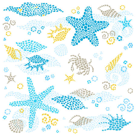 seashell: Vector set of sea element and seashells. Marine life pattern. Ornate element for design. Can be used for  invitations, cards, decoration for bags, tattoo creation. Decor for your design.