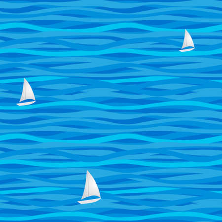 repose: Blue seamless pattern with waves and paper boats. Marine waves background. It can be used for wallpaper, pattern fills, web page background, surface textures.