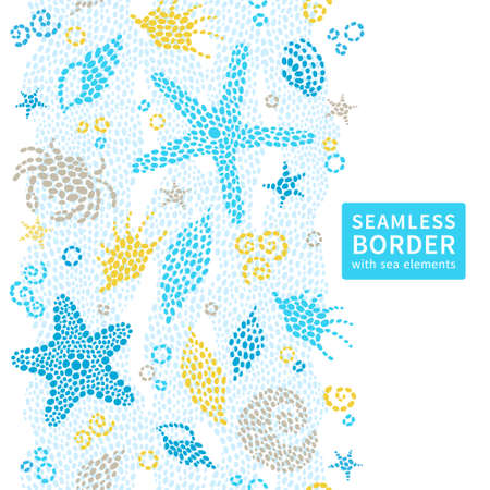 Bright seamless border with sea elements. Marine life background. Place for text. Can be used for wallpaper, pattern fills, web page background, surface textures, decorating of invitations, cards, decoration for bags and clothes. Illustration