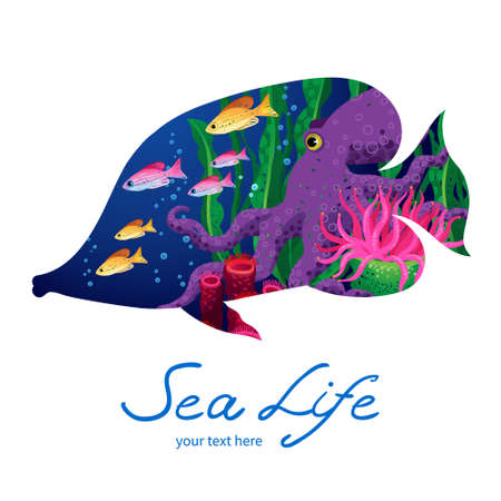 fish form: Marine life on background in the form of a fish. Place for your text. It can be used for decorating of invitations, cards, decoration for bags and clothes. Illustration