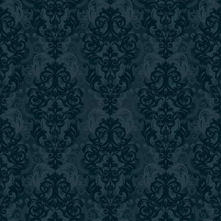 victorian wallpaper: Vector seamless pattern with swirls and floral motifs in retro style. Victorian background of dark color. It can be used for wallpaper, pattern fills, web page background, surface textures. Illustration