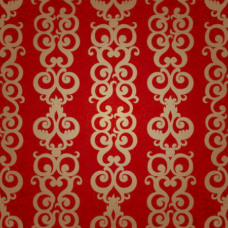 scroll work: Vector seamless pattern with swirls motifs in retro style. Golden scroll work background. Endless east style backdrop. It can be used for decorating of invitations, greeting cards, decoration for bags. Illustration
