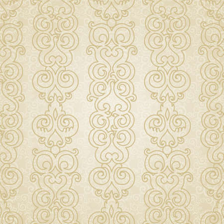 scroll work: Vector seamless pattern with swirls motifs in retro style. Light scroll work background. Endless east style backdrop. It can be used for decorating of invitations, greeting cards, decoration for bags. Illustration