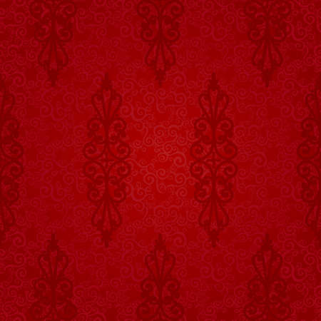 victorian wallpaper: Vector seamless pattern with swirls and floral motifs in retro style. Victorian background of red color. It can be used for wallpaper, pattern fills, web page background, surface textures.