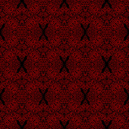 Vintage seamless pattern with lacy ornament in retro style. Dark red brocade background. It can be used for wallpaper, pattern fills, web page background, surface textures. Vector