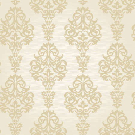 Vector seamless pattern with swirls and floral motifs in retro style. Victorian background of light color. It can be used for wallpaper, pattern fills, web page background, surface textures.