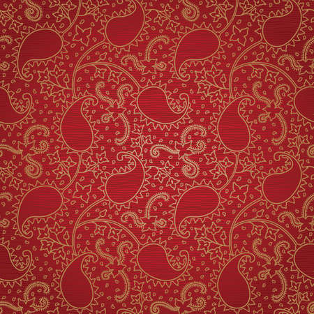 red and gold: Ornate floral seamless texture. Red endless pattern. Persian style background. Seamless pattern can be used for wallpaper, pattern fills, web page background, surface textures. Illustration