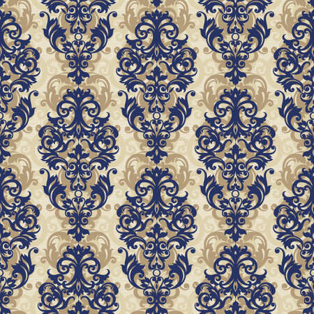 victorian wallpaper: Vector seamless pattern with swirls and floral motifs in retro style. Victorian background of contrast color. It can be used for wallpaper, pattern fills, web page background, surface textures.