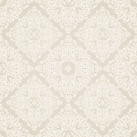 Vector seamless pattern with swirls and floral motifs in retro style. Victorian background of light color. It can be used for wallpaper, pattern fills, web page background, surface textures. Vector