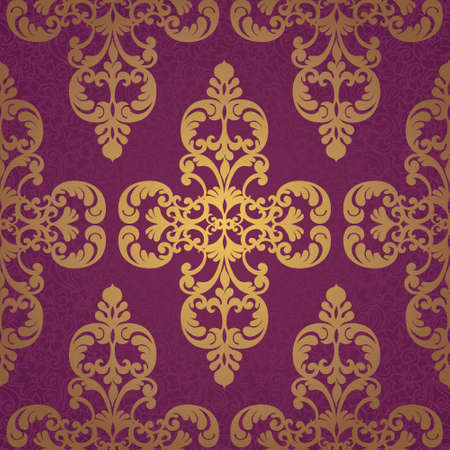 victorian wallpaper: Vector seamless pattern with swirls and floral motifs in retro style. Golden Victorian background. It can be used for wallpaper, pattern fills, web page background, surface textures.