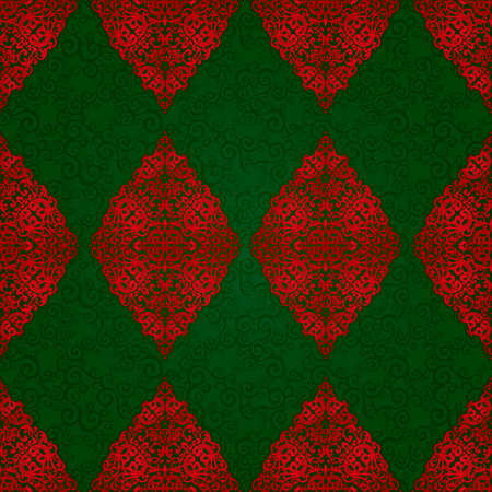 be green: Vintage seamless pattern with lacy ornament in retro style. Dark green and red brocade background. It can be used for wallpaper, pattern fills, web page background, surface textures.