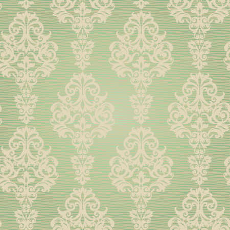victorian wallpaper: Vector seamless pattern with swirls and floral motifs in retro style. Victorian background of light green color. It can be used for wallpaper, pattern fills, web page background, surface textures. Illustration