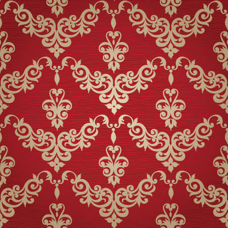 victorian wallpaper: Vector seamless pattern with swirls and floral motifs in retro style. Victorian background of gold and red color. It can be used for wallpaper, pattern fills, web page background, surface textures. Illustration