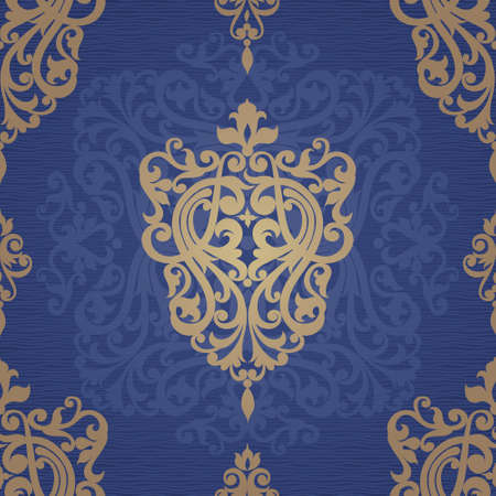 gold textures: Vector seamless pattern with swirls and floral motifs in retro style. Victorian background of gold and blue color. It can be used for wallpaper, pattern fills, web page background, surface textures. Illustration