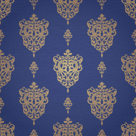 victorian wallpaper: Vector seamless pattern with swirls and floral motifs in retro style. Victorian background of gold and blue color. It can be used for wallpaper, pattern fills, web page background, surface textures. Illustration