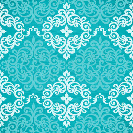 victorian wallpaper: Vector seamless pattern with swirls and floral motifs in retro style. Victorian background of modern turquoise color. It can be used for wallpaper, pattern fills, web page background, surface textures.