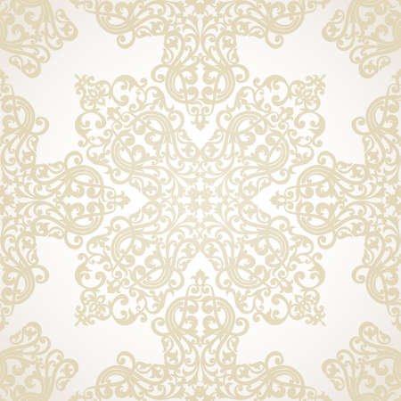 scroll tracery: Vector seamless pattern with swirls and floral motifs in retro style. Victorian background of light color. It can be used for wallpaper, pattern fills, web page background, surface textures.