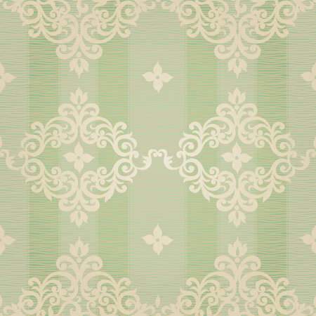 be green: Vector seamless pattern with swirls and floral motifs in retro style. Victorian background of light green color. It can be used for wallpaper, pattern fills, web page background, surface textures. Illustration