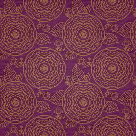 golden daisy: Ornamental seamless pattern with large flowers and curls. Golden brocade floral background. It can be used for wallpaper, pattern fills, web page background, surface textures. Illustration