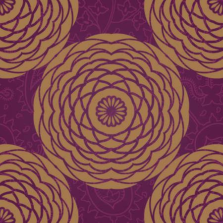 golden daisy: Modelo incons�til ornamental con grandes flores y rizos. Brocado de oro fondo floral. Se puede utilizar para el papel pintado, patrones de relleno, de fondo p�gina web texturas de superficie. Vectores