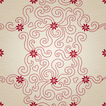 Light seamless pattern with small flowers and dotted curls. Ornamental floral endless background. It can be used for wallpaper, pattern fills, web page background, surface textures.