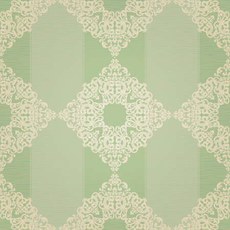 Vector seamless pattern with swirls and floral motifs in retro style. Victorian background of light green color. It can be used for wallpaper, pattern fills, web page background, surface textures. Vector