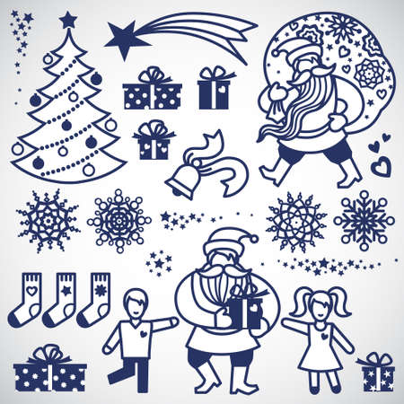 holiday icons: Set of christmas vector elements, winter holiday icons collection. It can be used for decorating of invitations, cards, decoration for bags and clothes. Ornament for brochures, magazines, leaflets. Illustration