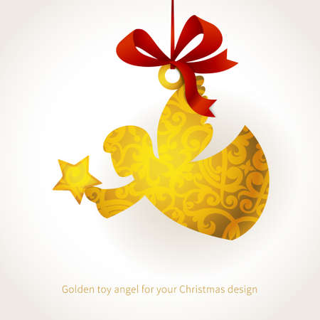 christmas angel: Golden angel with star and ribbons. Place for text. Element for Christmas design. It can be used for decorating of invitations, greeting cards, labels, decoration for bags and clothes.