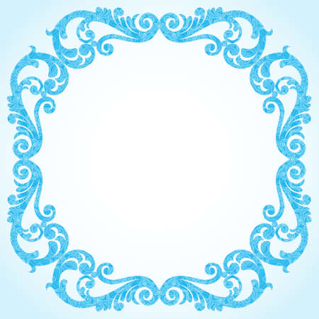scroll work: Winter concept frame. Vintage decorative round pattern with lacy ornament. Christmas vector background.  Place for your text. It can be used for decorating of invitations, greeting cards, decoration for bags, clothes.
