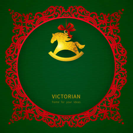 Concept ornate frame with Christmas toy, ribbons and place for text. Element for Christmas design. It can be used for decorating of invitations, greeting cards, labels, decoration for bags and clothes. Vector